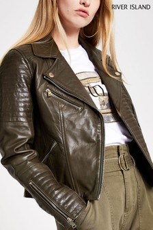 River Island Khaki Cato Leather Biker Jacket