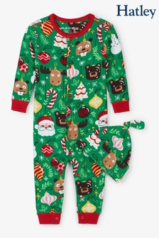 Hatley Green Holiday Ornaments Baby Coverall And Hat