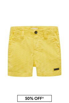 Boss Kidswear Baby Boys Yellow Cotton Shorts