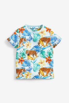 Short Sleeve Tiger Hibiscus T-Shirt (3mths-7yrs)