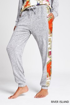 River Island Print Woven And Jersey Pink Print Joggers