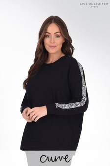 Live Unlimited Curve Black Sweatshirt with Leopard Trim