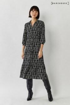 Warehouse Black Brushed Check Midi Shirt Dress