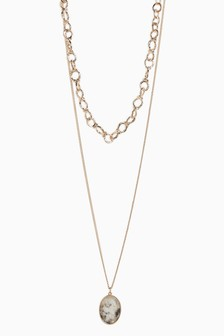Two Layer Interest Chain And Pendant Necklace