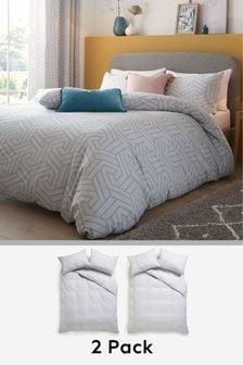 2 Pack Light Grey Geo Duvet Cover and Pillowcase Set