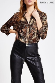 River Island Brown Printed Animal Shirt