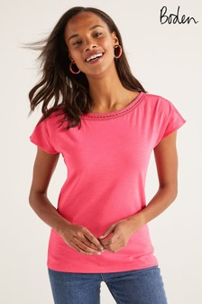 Boden Pink Darcey Embroidered Jersey T-Shirt