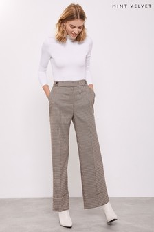 Mint Velvet White Check High Waist Crop Trousers