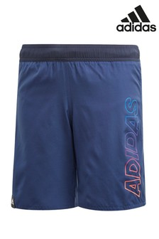 adidas Navy Linear Logo Swim Shorts