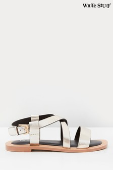 White Stuff Crossover Leather Flat Sandals
