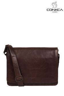 Conkca Brown Zagallo Leather Messenger Bag