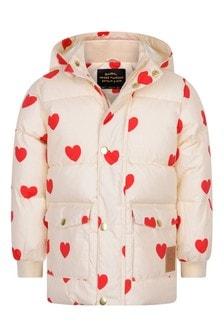 Girls Ivory Hearts Padded Jacket