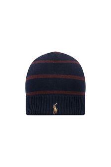 Boys Navy Merino Wool Hat