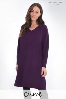 Live Unlimited Curve Burgundy Sweatshirt Dress