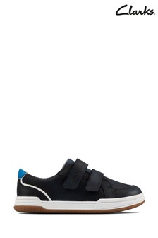 Clarks Navy Leather Fawn Solo T Shoes