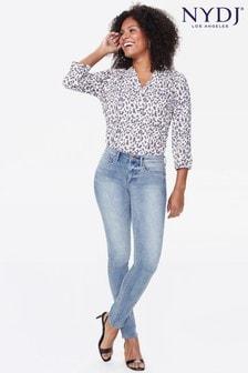 Jasnoniebieskie dopasowane dżinsy do kostek NYDJ Sheri