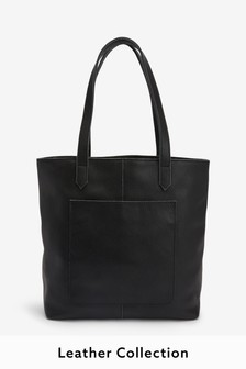 Leather Front Pocket Shopper Bag
