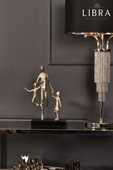 Libra Father Playing with Children Silver Sculpture