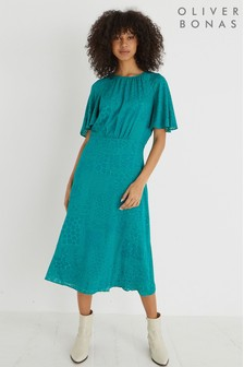 Oliver Bonas Teal Green Devoré Midi Dress