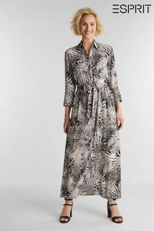 Esprit Black  Light Woven Long Viscose Dress