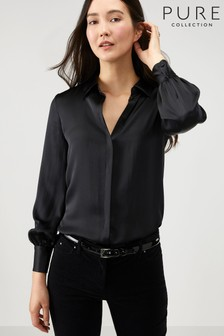 Pure Collection Black Silk Satin Shirt