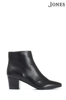 Jones Bootmaker Black Heeled Leather Ankle Boots