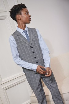 Check Waistcoat, Shirt And Tie Set (12mths-16yrs)