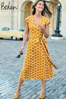Boden Yellow Tori Midi Dress