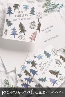 20 Pack Personalised Contemporary Tree Foiled Christmas Cards by Croft Designs