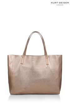 Kurt Geiger London Gold Leather Violet Horizontal Tote Bag