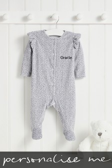 Personalised Grey Spot Velour Sleepsuit