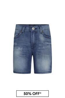 Diesel Boys Blue Cotton Shorts