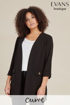 Evans Curve Black Button Detail Jacket