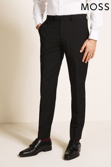 Moss 1851 Tailored Fit Machine Washable Black Plain Trousers