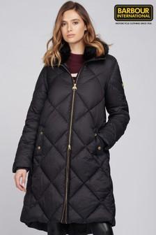 Barbour® International Black Assen Longline Quilted Coat