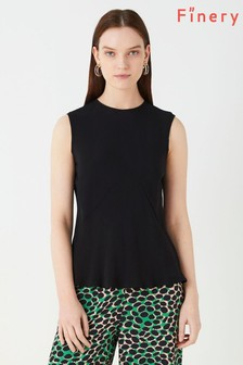 Finery London Black Wavel Panelled Tank Top