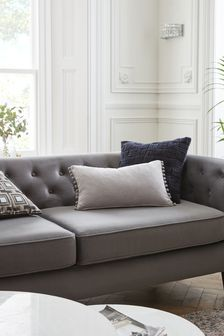 Soft Velour Pom Edge Rectangle Cushion