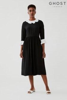 Ghost Black Marnie Satin Back Crepe Dress