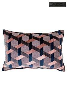 Riva Home Pink Delano Geo Velvet Jacquard Cushion