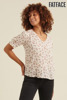 FatFace Natural Tania Brushstroke Floral Blouse