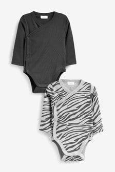 Bodys mit überkreuztem Design und Animalprint, 2er Pack  (0Monate bis 3Jahre)