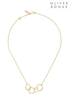 Oliver Bonas Gold Plated Ellie Textured Rings Brass Necklace