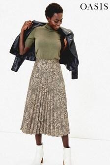 Oasis Natural Animal Pleated Midi Skirt
