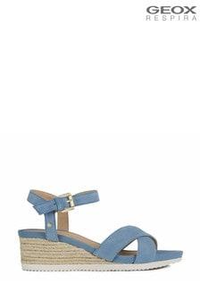 Geox Women's Ischia Corda Blue Sandals