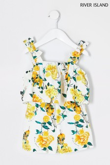 River Island White Print Tiered Playsuit