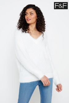 F&F Ivory Feather V-Neck Jumper