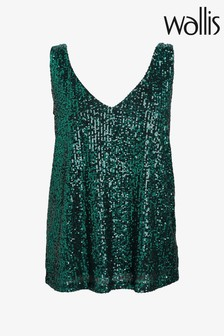 Wallis Green Metallic Sequin V-Neck Cami