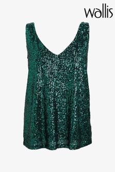 Wallis Green Metallic Sequin V-Neck Cami