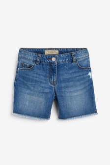 Longer Length Frayed Hem Shorts (3-16yrs)