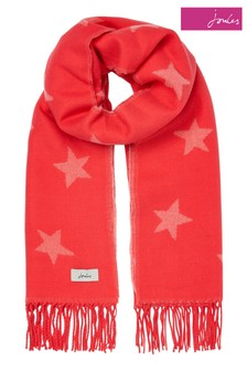 Joules Pink Star Mardale Reversible Scarf